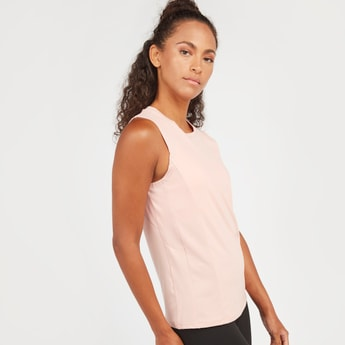 Textured Sleeveless Boxy Vest with Round Neck