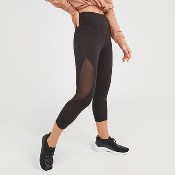 Slim Fit Textured Capri Leggings with Elasticised Waistband