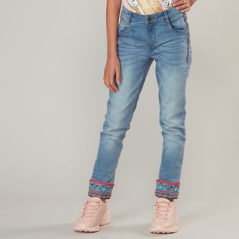 Full Length Solid Jeans with Embroidered Hem and Pocket Detail