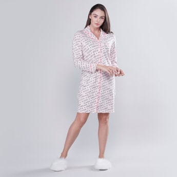 Printed Sleepshirt with Long Sleeves and Button Closure