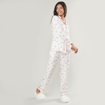 Heart Printed Shirt and Pyjama Set