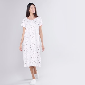 Floral Print Sleep Gown with Short Sleeves