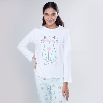 Printed 3-Piece Nightwear Set with Eye-Mask