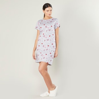Graphic Print Round Neck Sleep Dress