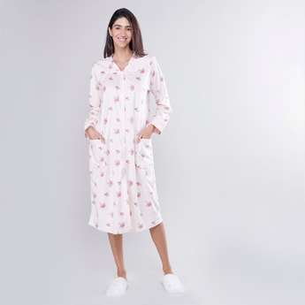 Printed Sleepshirt with Long Sleeves and Pocket Detail