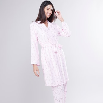 Printed Robe with Tie Ups and Long Sleeves