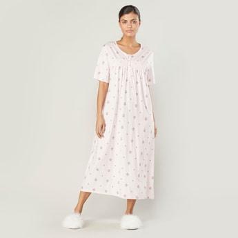 Printed Sleep Dress with Short Sleeves