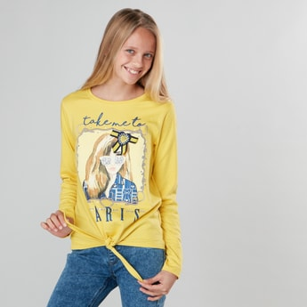 Graphic Printed T-shirt with Long Sleeves and Tie Up