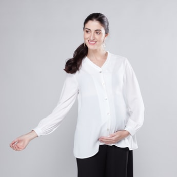 Maternity Plain Top with Pleated V-neck and Long Sleeves
