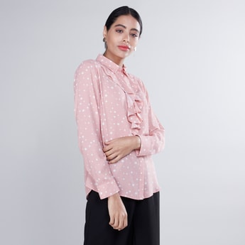 Printed Top with Ruffle Detail and Long Sleeves