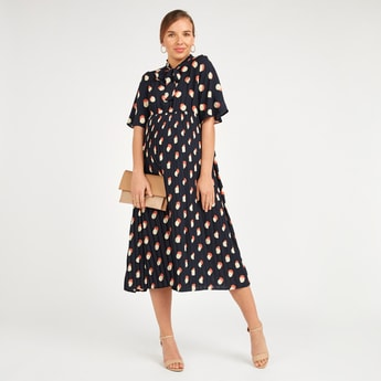 Printed Midi A-line Maternity Dress with Pussy Bow and Short Sleeves