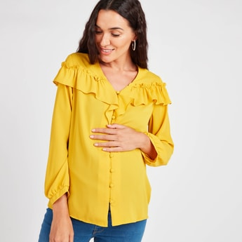 Maternity Solid Top with V-neck and Ruffle Detail