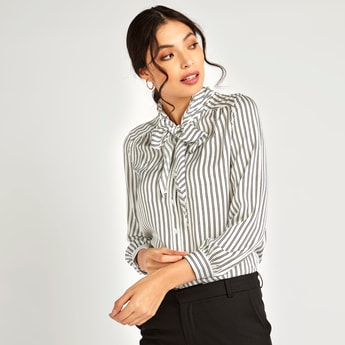 Striped Top with Necktie and Long Sleeves