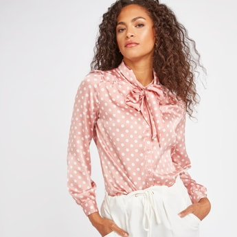Polka Dots Print Top with Pussy Bow and Long Sleeves