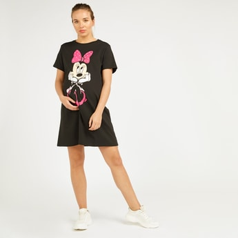Minnie Mouse Print Midi A-line Dress with Round Neck and Short Sleeves