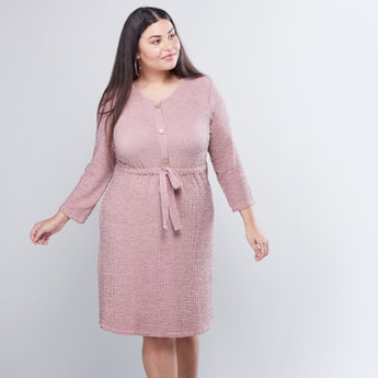 Textured Round Neck Midi Dress with 3/4 Sleeves and Front-Knot Styling