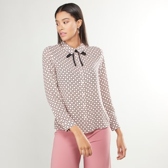 Printed Top with Long Sleeves and Tie Ups