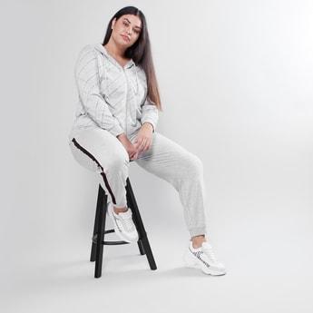 Full Length Plain Jog Pants with Tape Detail