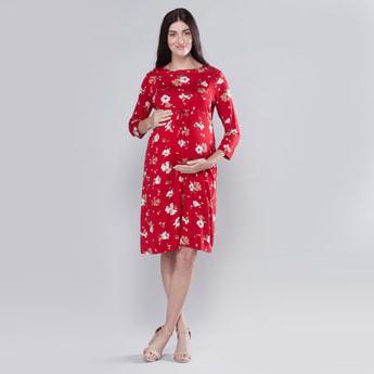 فستان حوامل إيه لاين متوسط الطول بأكمام طويلة وأربطة وطبعات