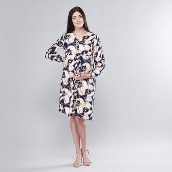 فستان حوامل إيه لاين متوسط الطول بأكمام طويلة وياقة V وطبعات