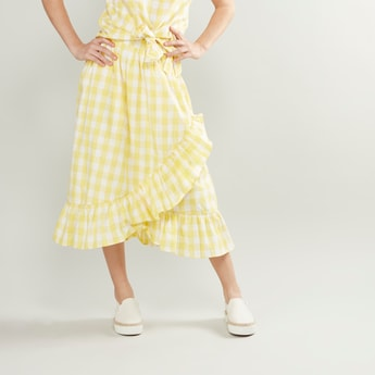 Checked Wrap Around Skirt with Frill Detail