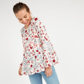 Maternity Printed Top with Round Neck and Long Sleeves