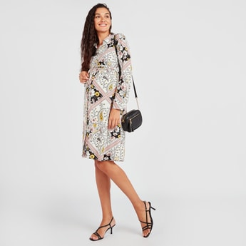 Maternity Printed Midi A-line Formal Shirt Dress with Long Sleeves