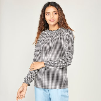 Printed Top with Ruffle High Neck and Long Sleeves