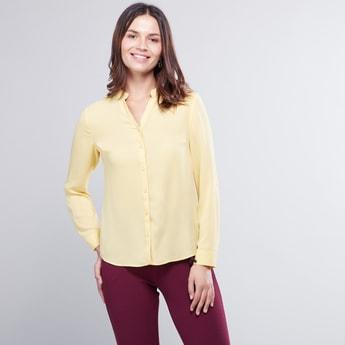 Plain Formal Shirt with Mandarin Collar and Long Sleeves