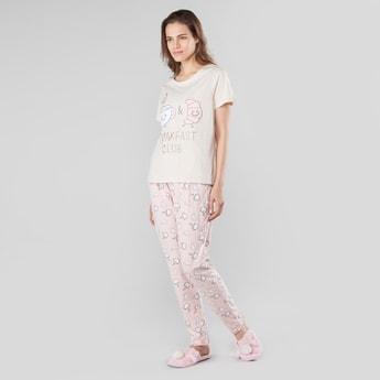 Printed Round Neck T-shirt and Pyjamas Set
