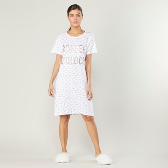 Printed Sleep Dress with Short Sleeves