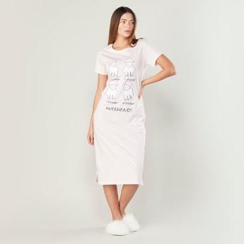 Printed Sleepdress with Short Sleeves