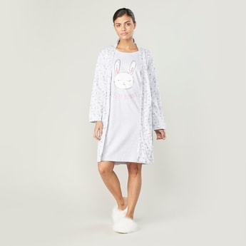 Printed Robe with Long Sleeves and Tie Ups