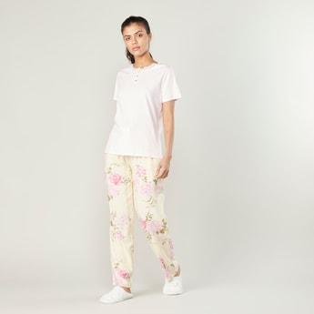 Plain Short Sleeves Top and Pocket Detail Pyjama Set