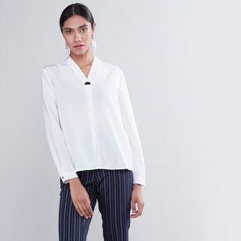Solid V-Neck Blouse with Long Sleeves