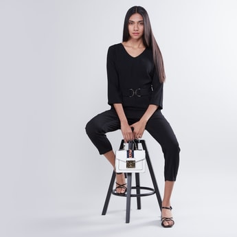 Plain Formal Jumpsuit with V-neck and 3/4 Sleeves