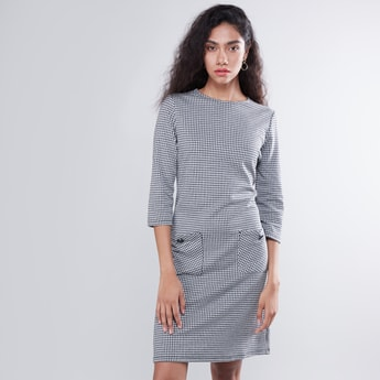 Checked Round Neck Dress with Patch Pockets