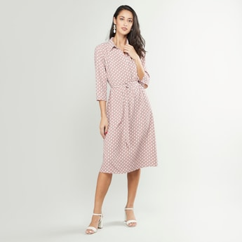 Printed Midi A-line Dress with Spread Collar and 3/4 Sleeves