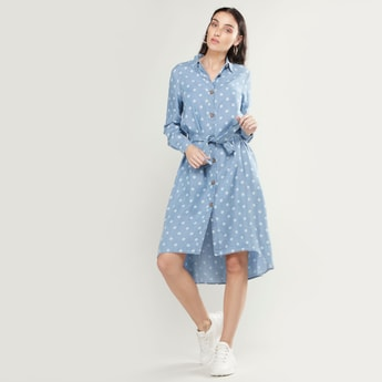 Polka Dot Printed Shirt Dress with Long Sleeves and Asymmetric Hem
