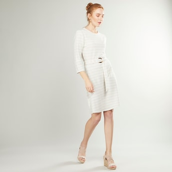 Striped A-line Dress with Buckle Detail and 3/4 Sleeves
