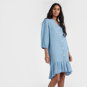 Denim Dress with V-neck and 3/4 Sleeves