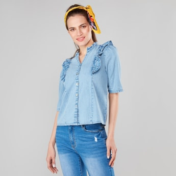 Denim Top with Ruffles and Elbow Sleeves