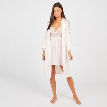 Lace Detail Robe with Long Sleeves and Tie Ups