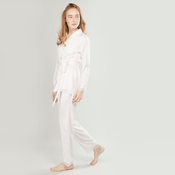 Lace Detail Long Sleeves Shirt and Full Length Pyjama Set