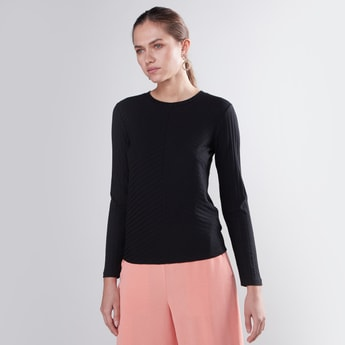 Slim Fit Textured Top with Round Neck and Long Sleeves