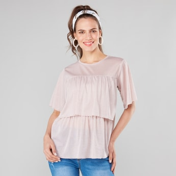 Solid T-shirt with Round Neck and Flared Sleeves