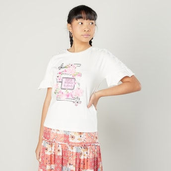 Printed T-shirt with Applique Detail and Short Sleeves
