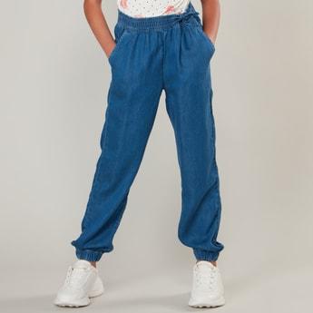 Plain Denim Pants with Pockets and Cuffed Hem