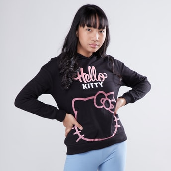 Hello Kitty Printed Sweat Top with Hood and Long Sleeves