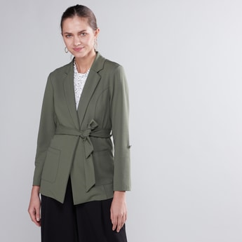 Plain Blazer with Notched Lapel and Tie Ups